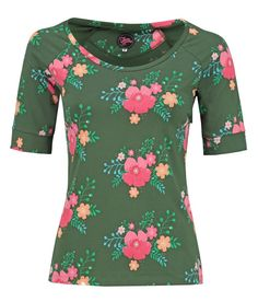 Tante Betsy Raglan Shirt poppy green groen tshirt top bloemenprint