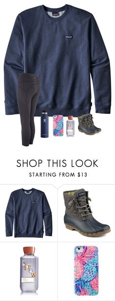 """""""Ocean Eyes"""" by brookespreppy ❤ liked on Polyvore featuring Patagonia, Sperry, Lilly Pulitzer, casual, Boots, patagonia, polyvorefashion and winter2017"""