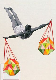 """""""Balance"""" Hand embroidered collage by HappyRedFishArt"""