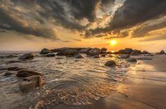 Photograph sunset water wave stone by jassada wattanaungoon on Water Waves, Beautiful World, Sunrise, Sky, Explore, Rock, Stone, Outdoor, Photograph