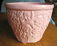 McCoy Pottery pink roses jard. c:1951 for sale at More Than McCoy at www.morethanmccoy.com