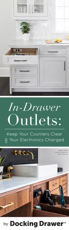 In-Drawer Outlets Keep Your Counters Clear & Electronics Charged Tired of having a mess of cords cluttering up your kitchen counter space? What if you had a better place to store your hair dryer AND power it when needed? Docking Drawer in-drawer electri Kitchen Cupboard Organization, Kitchen Storage, Diy Kitchen, Kitchen Decor, Kitchen Ideas, Rolling Kitchen Island, Island Kitchen, Home Renovation Loan, Closet Remodel