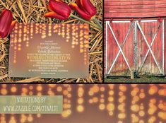 "I'm very excited to announce that wedding invitation designer JINAIJI used my red barn door photo in her display of her ""String of Lights Barn Wedding Invitation!  Please take a look!  ~ Anne   String of Lights Barn Wedding Invitation"