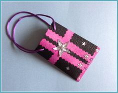 Mini-Geschenktüte schwarz-pink von Smaragddrache auf DaWanda.com