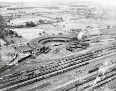 July 1947, Pennsylvania Railroad's big roundhouse at Crestline, Ohio. The long engine at middle left is No. 6100, the 6-4-4-6 duplex of 1939. Classic Trains magazine.