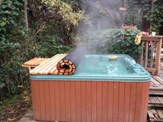 a hot jacuzzi can be covered with a rolling cover to keep it hot