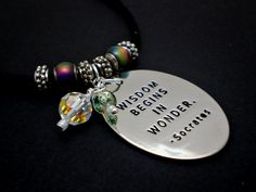 Socrates Quote Mirror Necklace with Mood Beads