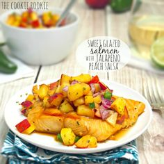 Sweet Glazed Salmon with Peach Salsa is delicious and healthy! The spicy and sweet jalapeno peach salsa is the perfect combination! My favorite summer meal.