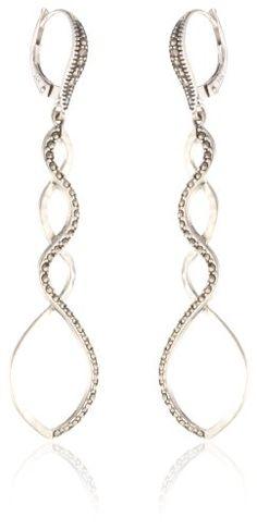 Judith Jack %22Turq Matrix %22Sterling Silver and Swarovski Marcasite Open Loop Drop Earrings