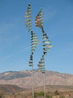 """A Pair of """"Wave"""" Kinetic Wind Sculptures by American Artist Lyman Whitaker. Beautiful Art for your Garden"""