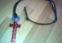 webguru7: make you this custom steel cross pendant with leather, pearl bead and red aluminum for $5, on fiverr.com