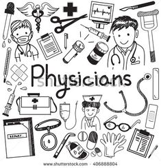 Physician doctor and other medic professions doodle cartoon icons of people medicines tools sign and symbol in white isolated paper background for health presentation or title. vector