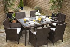 Rectangle Rattan Dining Table with 6 Chair Furniture Set, Indoor and Outdoor Use… http://www.uk-rattanfurniture.com/product/allibert-by-keter-delano-outdoor-furniture-4-seater-lounge-set-graphite-with-grey-cushions/