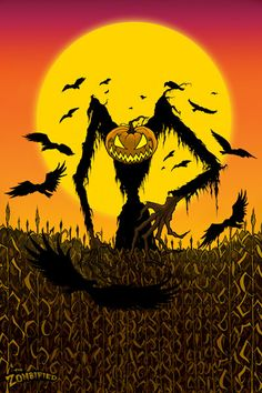 Halloween Harvest  Original Spooky Horror  Monster by thezombified, $23.00