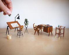 Miniature office set - so twee! Via @architectureoftinydistinction