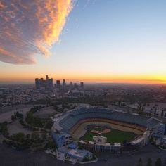 THINK BLUE: IS IT APRIL YET?! Photo credit: @billy_o_  #dodgerstadium #DTLA # #losangeles #Dodgers #sunset #aerialphotography | 03/03/2016 by liljacqueline