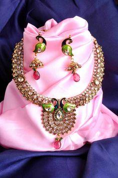 Aaishwarya Polki  Peacock design Necklace Set #necklaceset #peacocknecklaceset #ethnicjewellery #fashionjewellery #polkinecklace