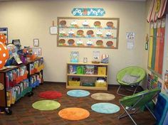 Class library = Bath mats OR LILY PADS for our Pre-K Classroom! When all are occupied no more kids can sit there. Classroom Layout, Classroom Organisation, Classroom Setting, Classroom Design, School Organization, Kindergarten Classroom, Future Classroom, Classroom Management, Classroom Decor