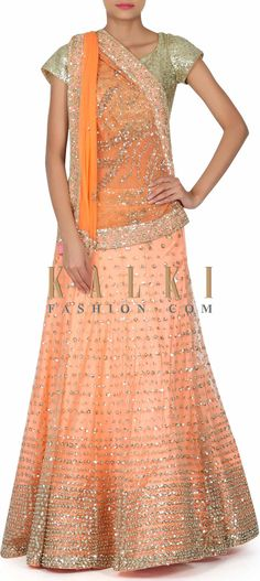 Buy this Peach lehenga adorn n sequin and moti embroidery only on Kalki