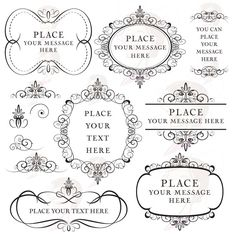 Vintage Flourish Frames Clip Art Digital Flourishes Clipart DIY Wedding Engagement Invitation Scrapbook Oval Vertical Horizontal Frame 10014. $6.50, via Etsy.
