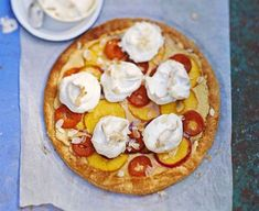 Giant peach, nectarine apricot meringue tart recipe BBC Good Food, Meringues with Summer Fruit Recipes Delia Online, Baked blueberry and. Tart Recipes, Fruit Recipes, Peach Puff Pastry, Bakewell Tart, Bbc Good Food Recipes, Sweet Tarts, Meringue, Treats, Baking