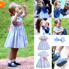 29 September 2016 16 month old Princess Charlotte looked adorable in a £74 blue cotton dress with coral hand-smocked by Pepa & Co, paired with a blue knit cardigan from Spanish brand Mi Lucero. The toddler's light brown hair was swept to the side and pinned in place with a £4 matching blue bow by Amaia Kids. She wore a pair of €29.95 blue Mary Jane shoes from Dona Carmen and $22.50 plain white shocks with cuff detail from Classical Child.