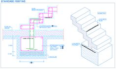 Choose your royalty-free clip-art Images. Concrete Footings, Concrete Stairs, Reinforced Concrete, Stairs Architecture, Architecture Details, Stairs Canopy, Structural Drawing, Cantilever Stairs, Building Stairs