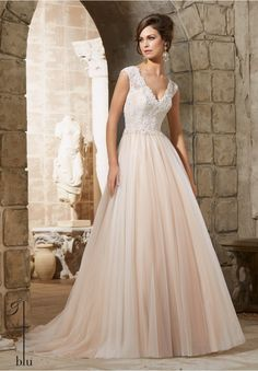 Wedding Gown 5368 Embroidered Lace Appliques with Crystal Beading Overlay the Chantilly Lace on the Soft Net Gown