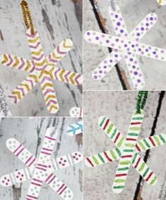 Ideas for homemade snowflakes - Basteln - Noel Christmas Activities, Christmas Crafts For Kids, Craft Stick Crafts, Preschool Crafts, Kids Christmas, Christmas Tree Decorations, Holiday Crafts, Christmas Ornaments, Craft Sticks