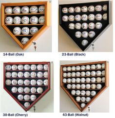 Home Plate Shaped Baseball Display Case Locking Cabinet Holders Rack w/ UV Protection<br>4 SIZES!<br>4 WOOD COLORS!
