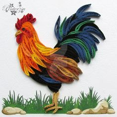 Quilled rooster by pinterzsu                                                                                                                                                                                 More