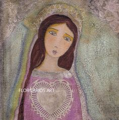Sacred Heart Virgin Mary- Print from Painting by FLOR LARIOS
