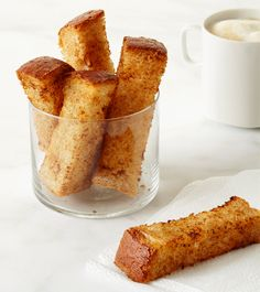 Cinnamon, Vanilla & Maple Toast Sticks  Maple Toast Sticks: Cut 1 slice Texas toast into sticks. Mix 1 tablespoon each melted butter and maple syrup and 1/4 teaspoon each cinnamon and vanilla. Brush on the bread and toast in the oven.