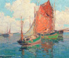 #art EDGAR PAYNE Tuna #Boats Oil on Canvas 20″ x 24″