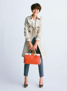 【着まわしday15】ドレストレンチ×ニット3点セット(カーディガン)×クロップトパンツ   ファッション コーディネート   with online on ウーマンエキサイト