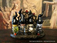 Witch's Kitchen Potion set dollhouse miniature in by DarkSquirrel, $35.00