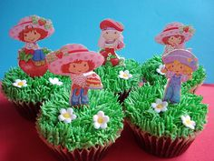 Strawberry Shortcake cupcakes                                                                                                                                                           Perfect for Kayla's birthday party.                                    ..