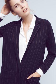 Pinstripe Knit Oversized Blazer
