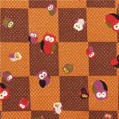 structured brown Kyoto owl chessboard twill fabric from Japan 2