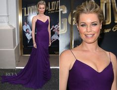 Rebecca Romijn In Vera Wang - 'Living On Love' Broadway Opening Night - Red Carpet Fashion Awards Celebrity Red Carpet, Celebrity Look, Star Fashion, Fashion 2015, High Fashion, Gowns Of Elegance, Elegant Gowns, Rebecca Romijn, Purple Gowns