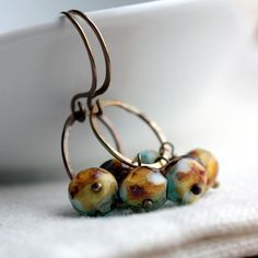 Beaded Earrings with Turquoise and Brown Czech by JarosDesigns, $25.00