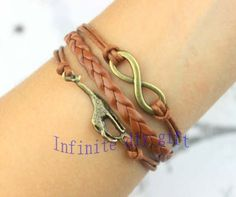 Ancient bronze charm bracelet, infinity and giraffe brown wax rope bracelets, friendship gift $2.99