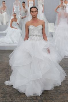 "Monique Lhuillier ""Axelle"" Silk white embellished Chantilly lace strapless drop waist gown with cascading tulle skirt"