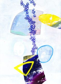 """10-7, Acrylic, crayon and collage on paper, 9"""" x 12"""", from lesson 10 - Shapes and Veiling, Jane Davies course 100 Drawings on Cheap Paper"""