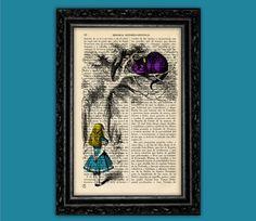 Vintage Curious Alice with Cheshire Cat Art Print - Alice in Wonderland Poster Book Art Dorm Room Gift Print Wall Decor Poster Dictionary door ThePurpleHamster op Etsy https://www.etsy.com/nl/listing/186988633/vintage-curious-alice-with-cheshire-cat