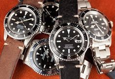 A stylish collection of vintage Rolex Submariner watches.