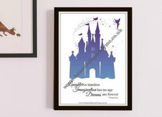 Finish off a lovely DIY project with this Unique Printable Peter Pan Art with Purple-Blue Ombre colouring.  Wording: 'Laughter is Timeless, Imagination has no age, Dreams are forever'. Matching items are available. www.beautifulsparklyme.co.uk