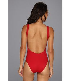 KAMALIKULTURE Low Back Tank Mio Swimsuit w/ Heart Graphic Red w/ OW Heart