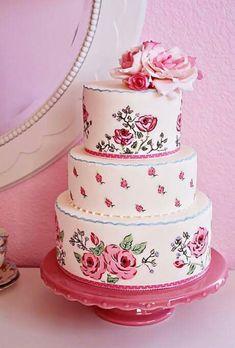 Pastel de rosas pintado a mano.