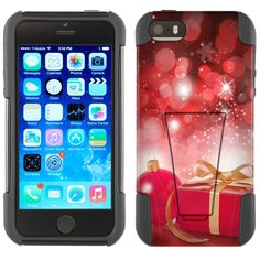 Apple iPhone 5 Hybrid Stand Case - Christmas Red Ornaments with Present